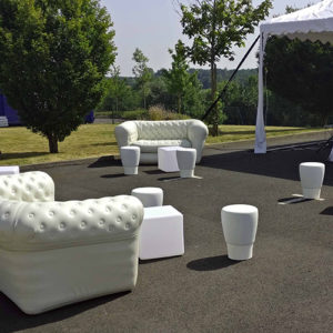 Pouf blanc location Angers